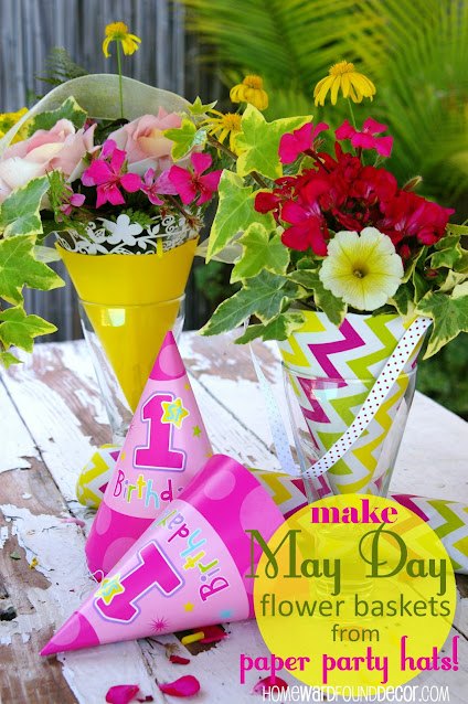 May Day flower baskets, repurposing, upcycling, paper crafts, paper party hat crafts, Dollar Tree crafts, gift wrapping, flower arrangements,