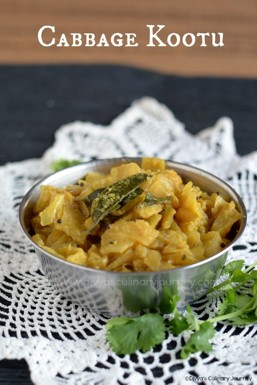 Cabbage kootu made with channa dal