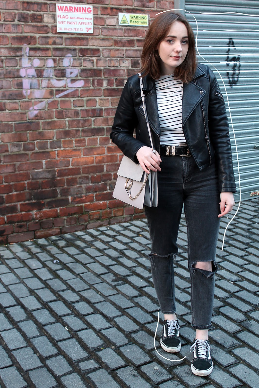 Liverpool blogger in topshop leather jacket, striped top, chloe faye bag, asos farleigh jeans and old skool vans