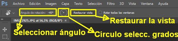 Estado de rotación de un lienzo en la barra de opciones en Photoshop
