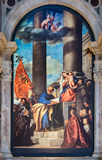 Titian's Pesaro Madonna in the  Frari church in Venice