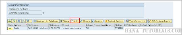 SAP DBACOCKPIT Adding SYSTEM