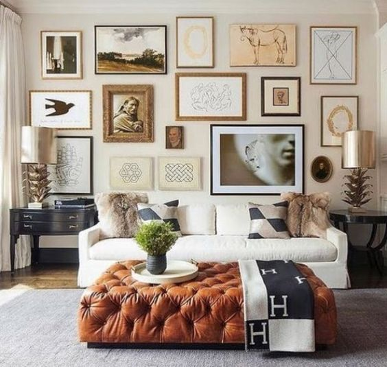 bronze and beige living room