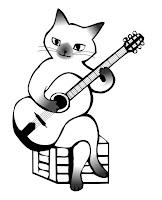 Kedi boyama sayfası gitar çalmak