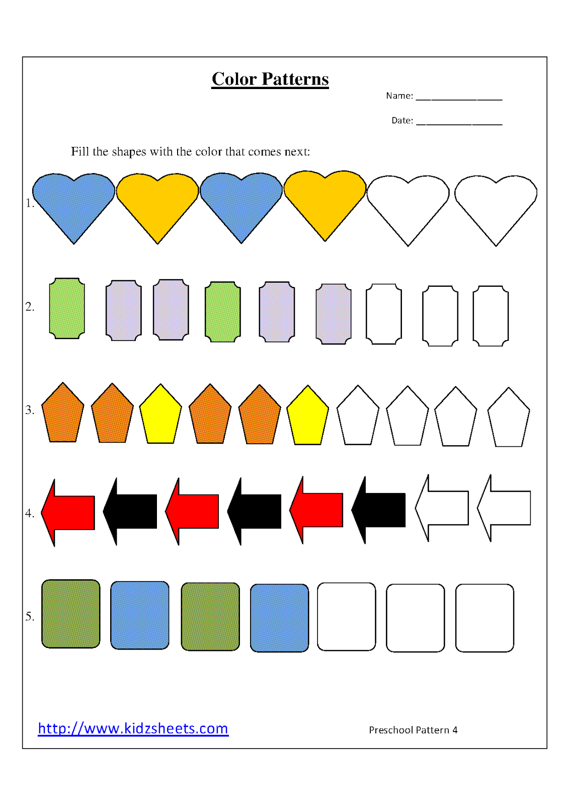 Kidz Worksheets Preschool Color Patterns Worksheet4