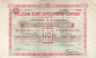 a 10 share certificate of the Helouan (Egypt) Development Company