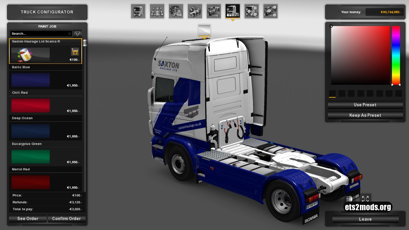 Scania RJL Saxton Haulage Ltd Skin