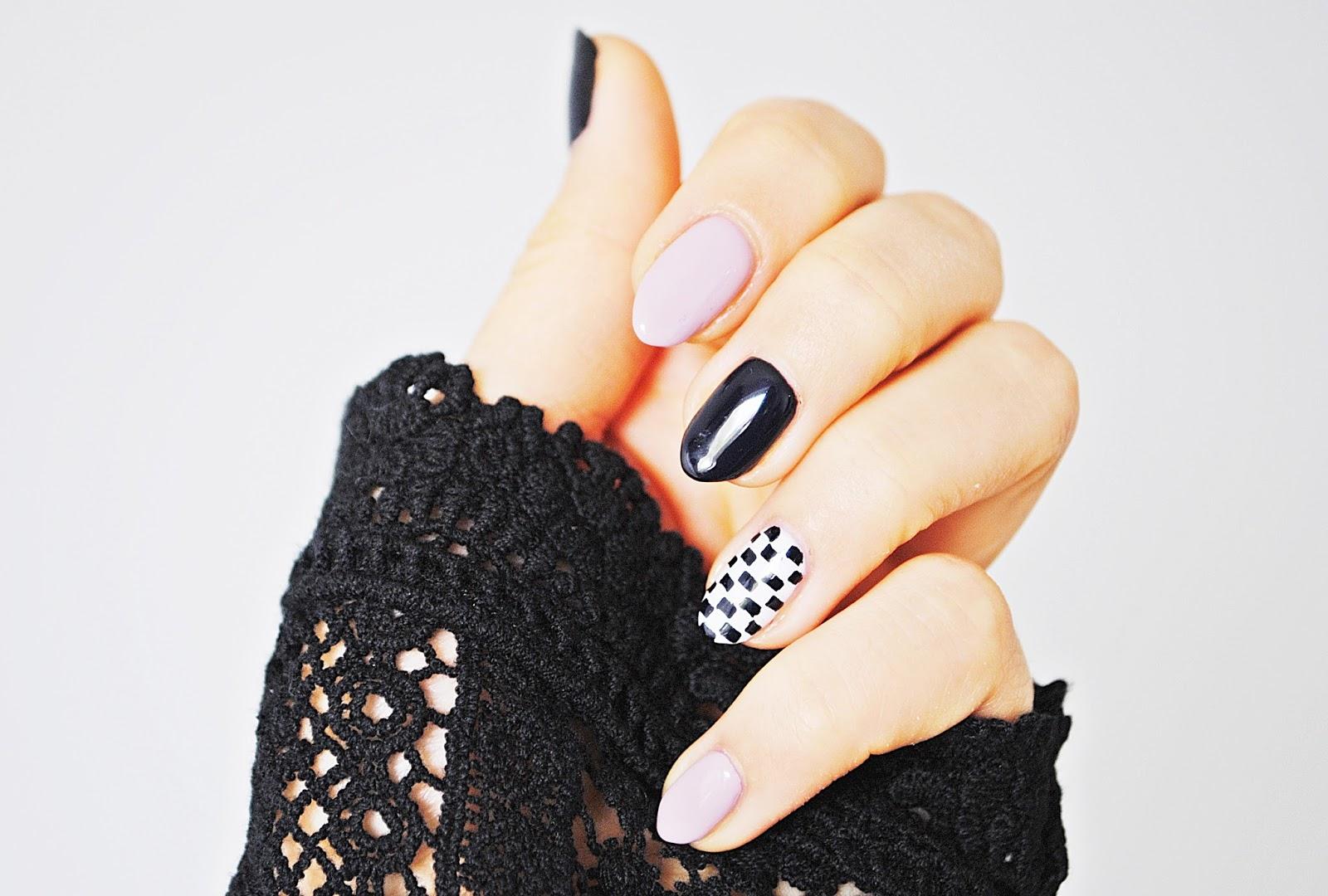 manicure hybrydowe wzory szablon szachownica