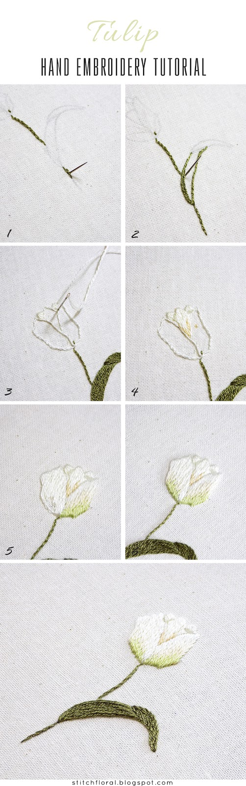 Tulip hand embroidery tutorial
