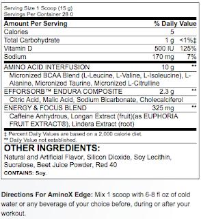 Ingredientes BSN AMINOx Edge