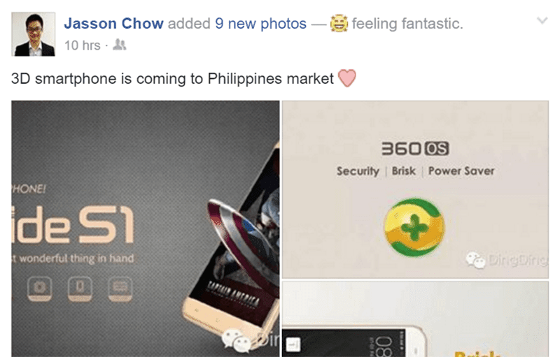The FB post Mr. Jasson Chow of Ding Ding Mobile