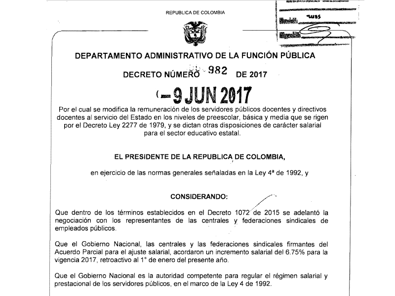 Decreto tabla salarial 2016 funcionarios publicos nueva for Resolucion docentes 2016