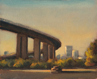 Landscape oil painting of a large curving bridge with distant high-rise buildings.