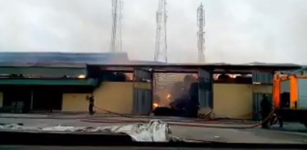 Photos: Ongoing fire at Sumal carton factory in Ibadan, Oyo State