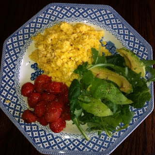 Wheat Free Breakfast Egg, tomatoes, salad and avocado