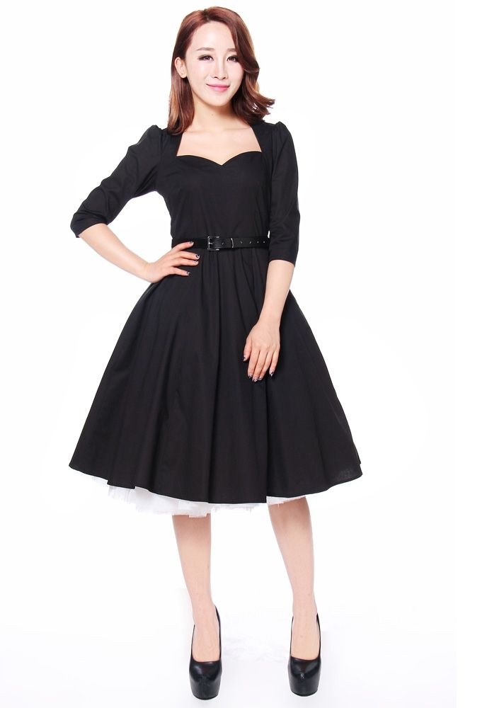 chic star, vintage dress, 50's dress, gothic dress, bow dress, black dress, knee length dress