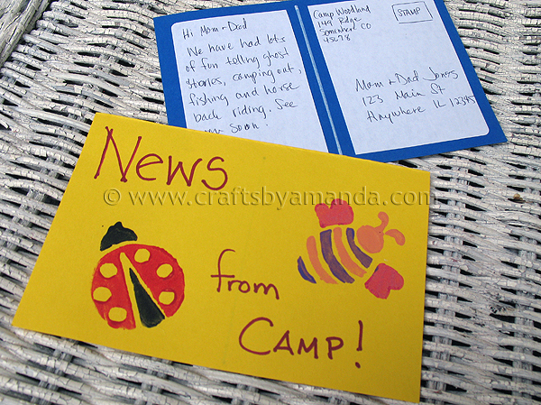 News From Camp Postcards Crafts By Amanda