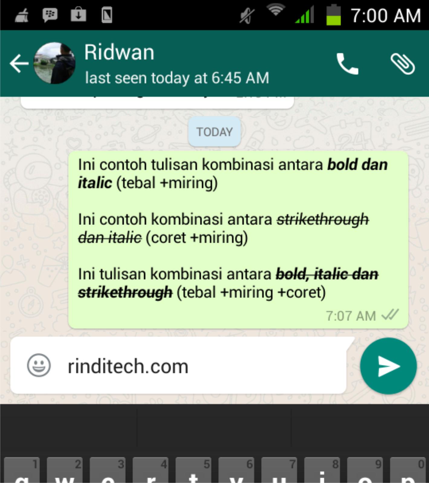 Cara Membuat Tulisan Tebal Miring Coret bahkan Kombinasi di WhatsApp