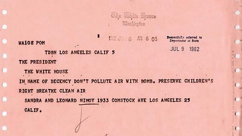 Leonard Nimoy enviou um telegrama ao JFK