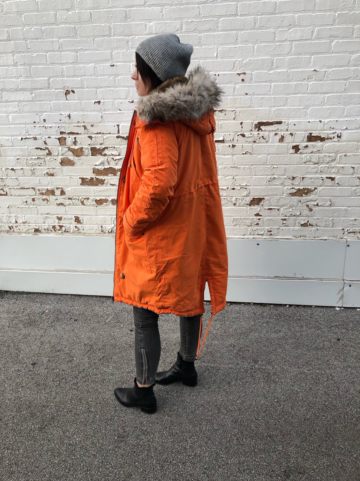 How to wear a bright orange color parka coat