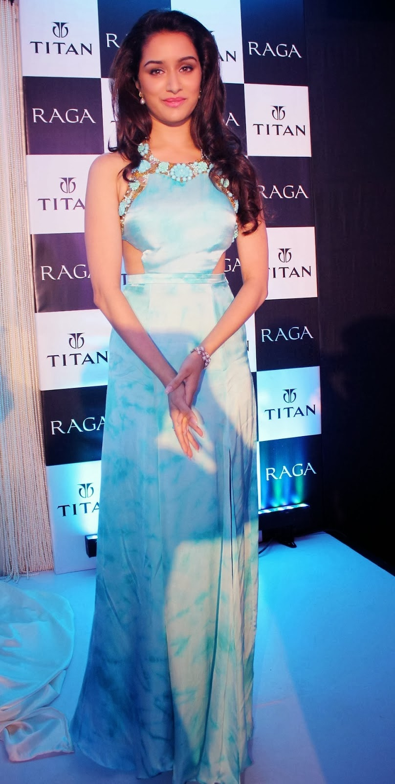 Bollywood Beauty Shraddha Kapoor Hot Smiling Face Photos In Blue Gown