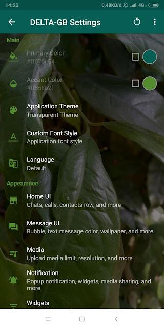 Setting GB Whatsapp Delta Menjadi Transparan