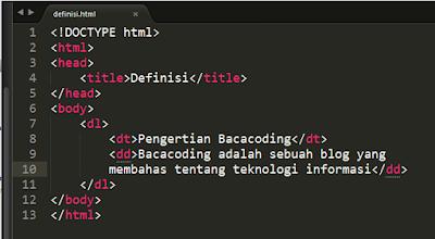 Defenisi List di HTML