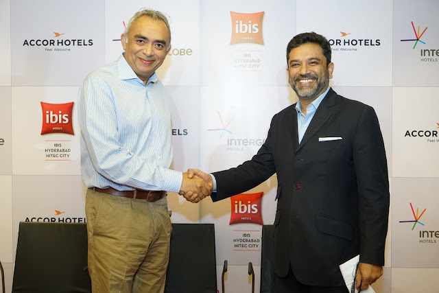 L-R J.B. Singh, (President & CEO, InterGlobe Hotels) along with Arif Patel (Vice-President -Sales, Marketing and Distribution, India AccorHotels) at the Launch of ibis Hyderabad Hitec City