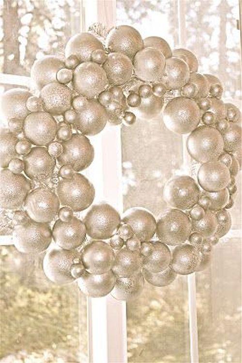 shiny Christmas balls wreath
