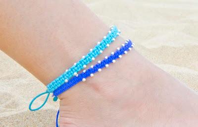 Tobilleras en plata azules