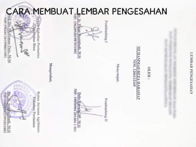 contoh lembaran pengesahan