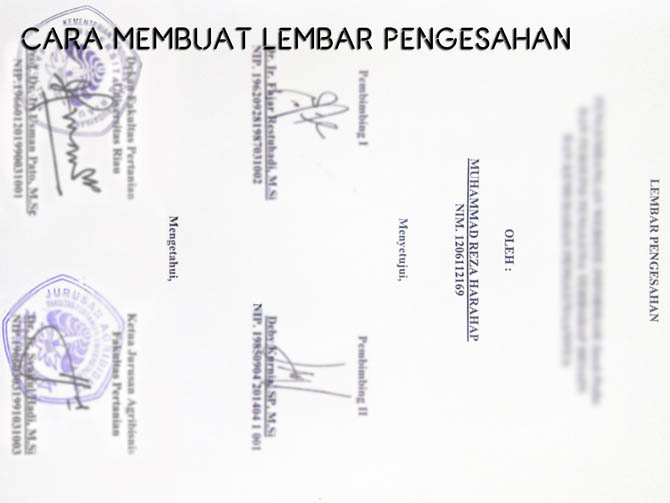 Contoh Pembuatan Lembar Pengesahan Laporan Skripsi Format Doc