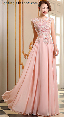 Vestido formal en georgette rosa perla