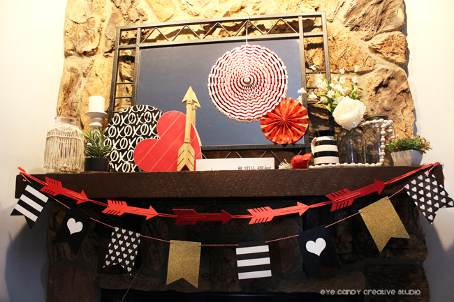 valentines day decor, valentines mantel, black and white mantel