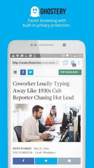 """Ghostery browser permette di navigare, scaricare completamente """"anonimo"""", bloccando i servizi di tracking"""
