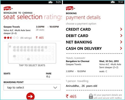RedBus.in Windows Phone app for book bus tickets