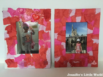 Valentine's Day tissue paper collage photo frames