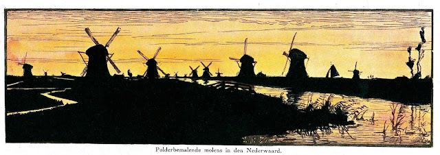 a color illustration of 1925 windmills in silhouette, Polderbemalende molens in den Nederwaard