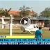 Helicóptero aterriza en una cancha y piloto se toma una selfie con una joven