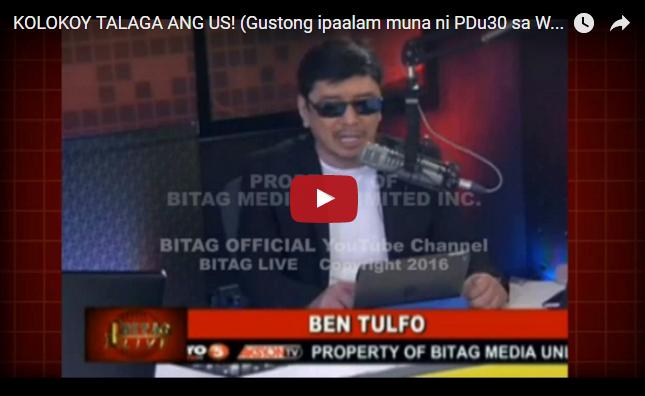 """PANOORIN: Ben Tulfo Slams Americans"""" KOLOKOY TALAGA ANG US! """""""