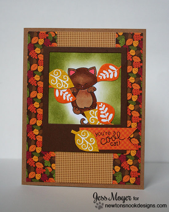 Fall Leaf and Cat Card by Jess Moyer for Newton's Nook Designs | Hanging Around and Falling Into Autumn Stamp sets