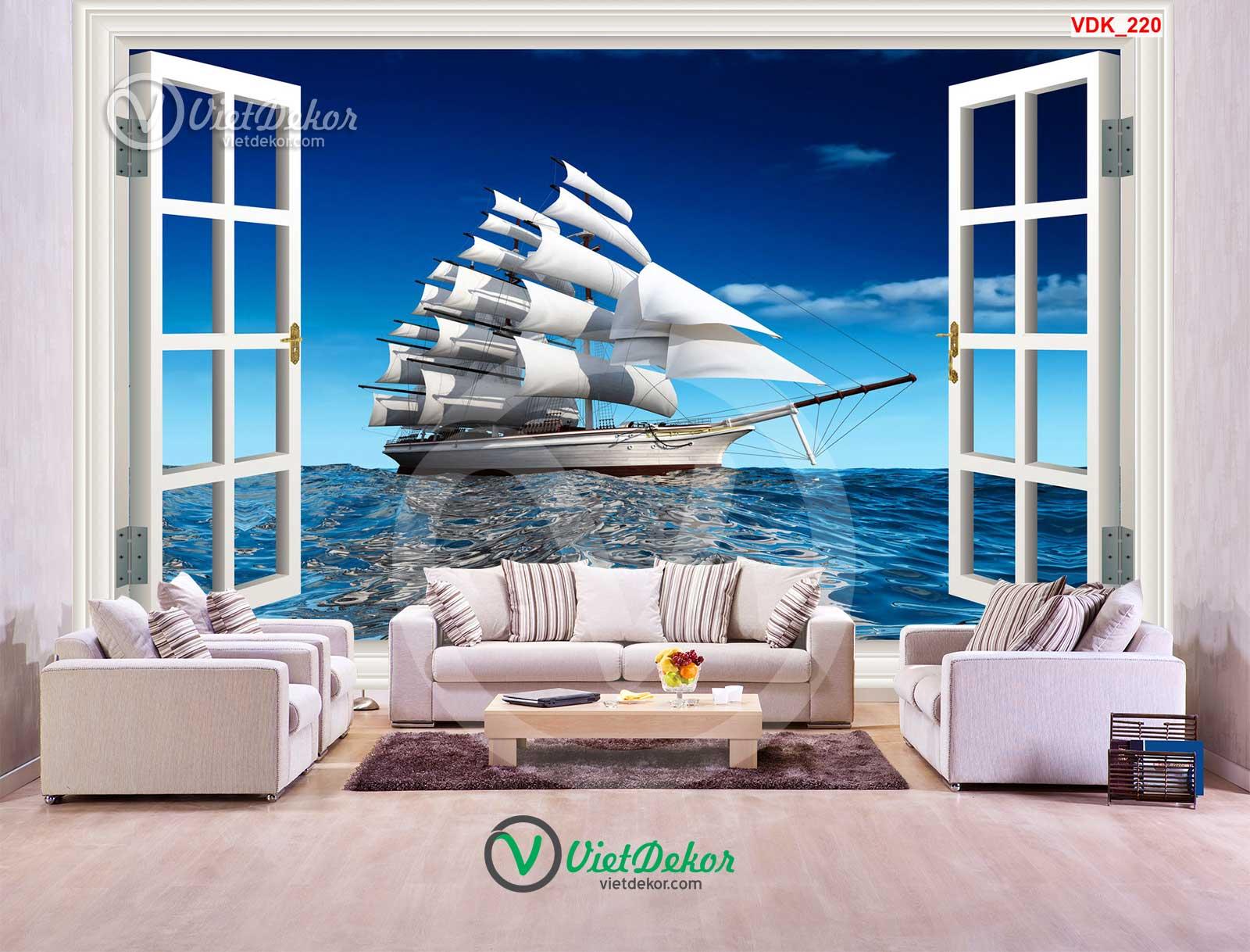 Tranh dán tường 3d thuận buồm xuôi gió