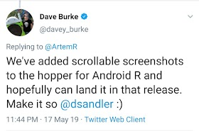 Google can launch full screen capture function on Android R