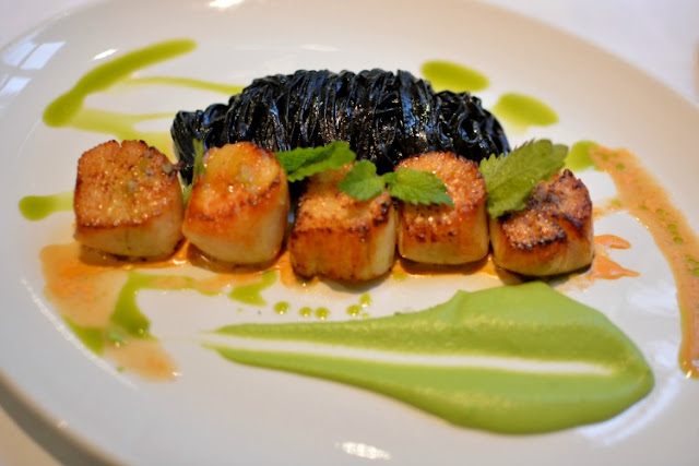 brasserie gustave hand dived scallops, squid ink tagliatelle and pea puree