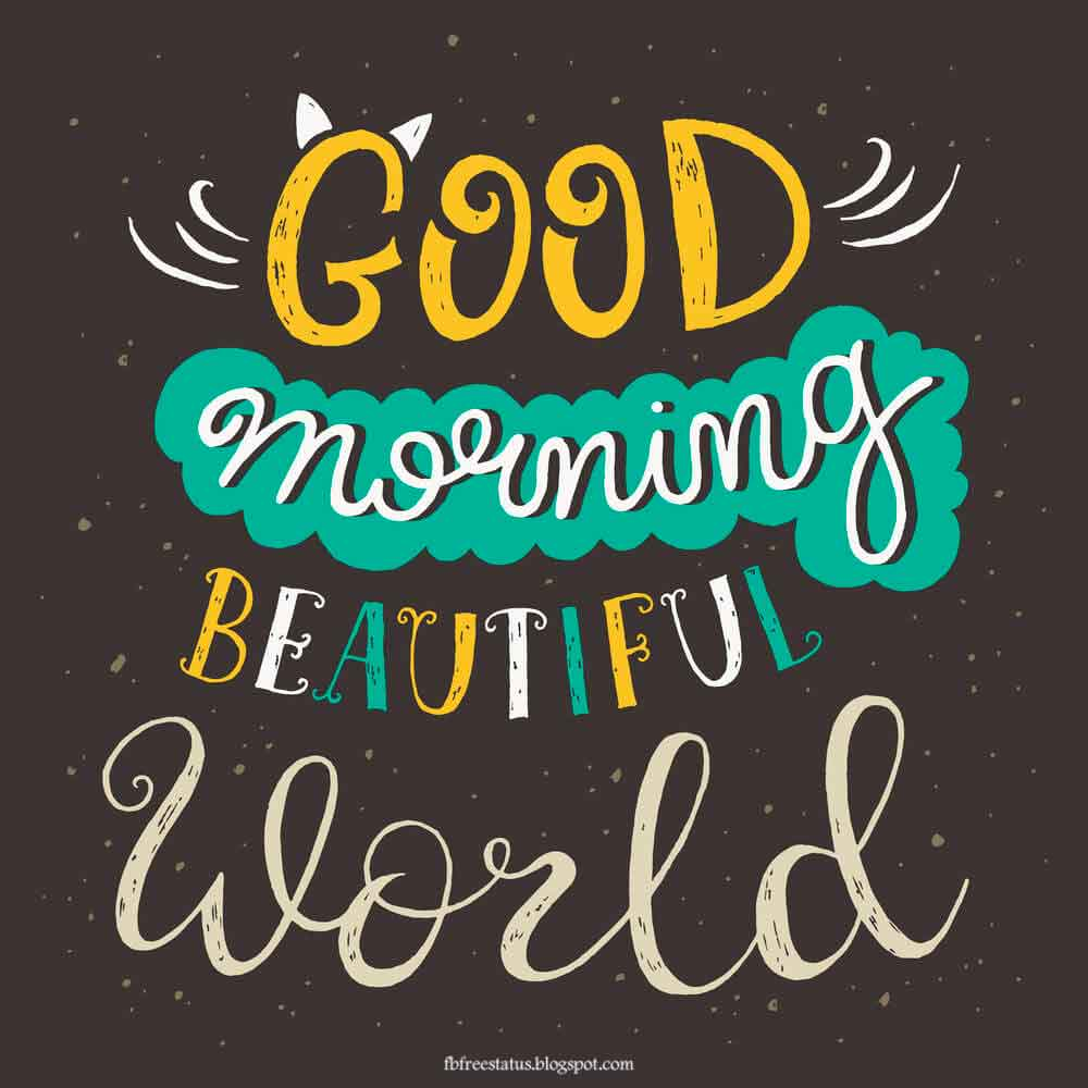 Good morning beautiful world.