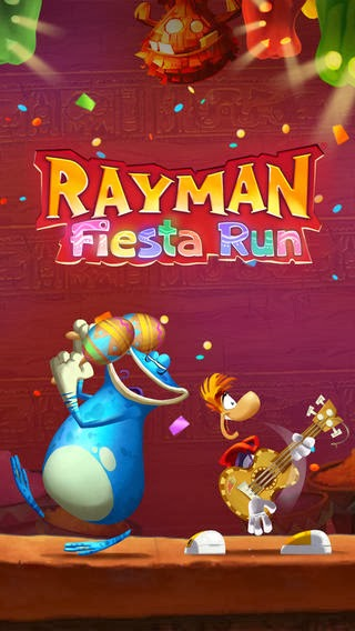 Fun Platform running game Rayman Fiesta Runnow available for iPhone, iPad, iPod Touch, Android smart phones and tablets