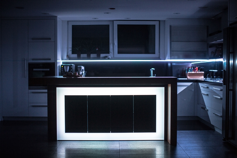 White light on kitchen island