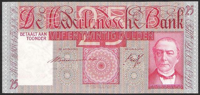 Dutch guilder banknotes Netherlands money currency 25 Gulden banknote