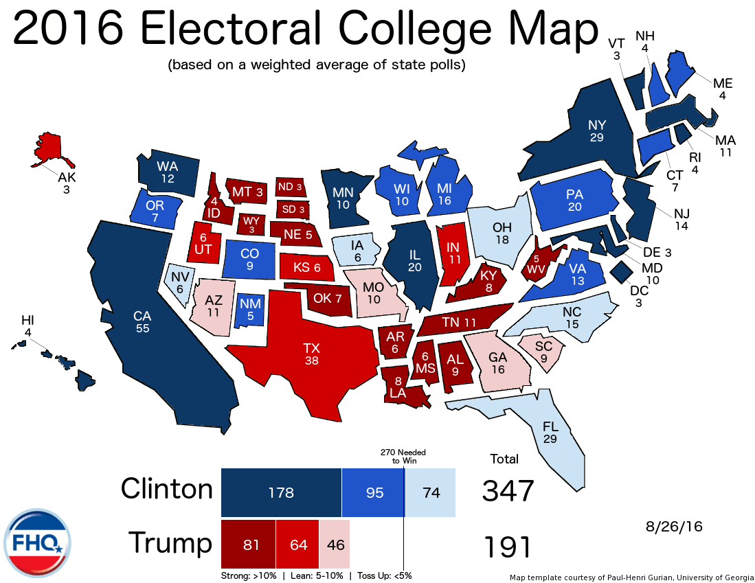 Frontloading Hq The Electoral College Map 82616 - Electoral-college-map-us