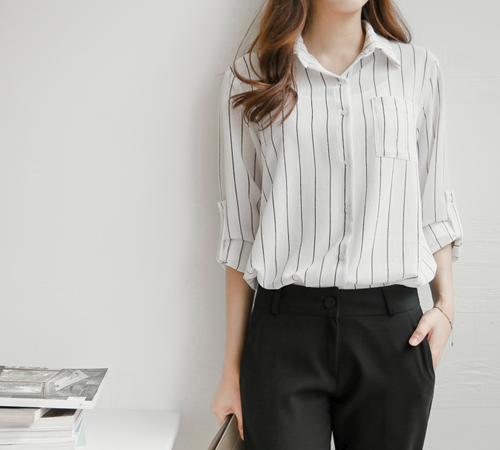 Classic Striped Roll-Up Sleeves Blouse